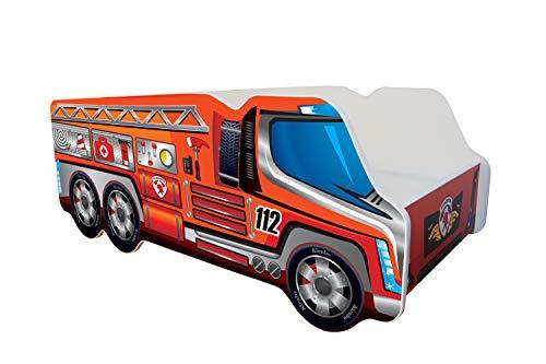 | Kinderbett Autobett LKW Feuerwehr | 140 x 70 cm | Lattenrost und Matratze | MDF beschichtet