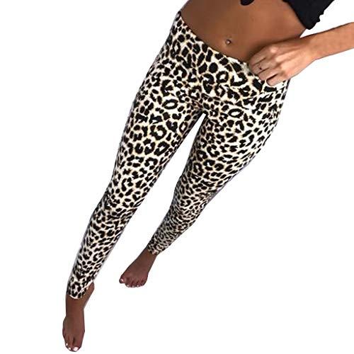 Mujer Pantalones Elásticos Impresión Pantalones de Yoga de Leopardo Mujer Fitness Mallas Gym Yoga Slim Fit Mayas Leggings Casual Largos Pantalones Cintura Alta Deportivos Running Fitness vpass