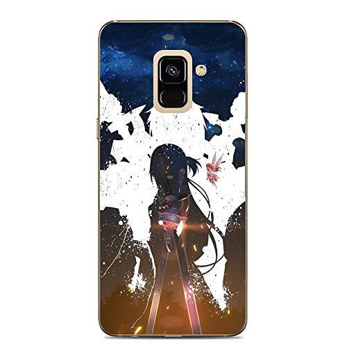 BEMAGIC Galaxy A7 2018 Case,Flexible Slim Silicone TPU Protector Cover Soft Thin Gel Skin for Samsung Galaxy A7 2018-Sword Art On Line 2 - Silicon Protector Case