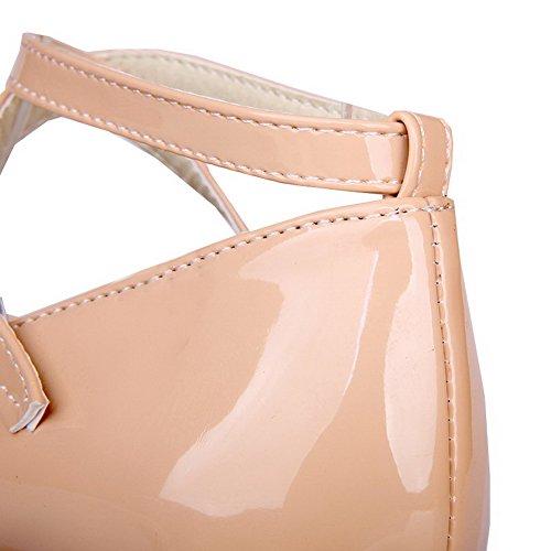 AllhqFashion Damen Rein Lackleder Hoher Absatz Schnalle Rund Zehe Pumps Schuhe Aprikosen Farbe