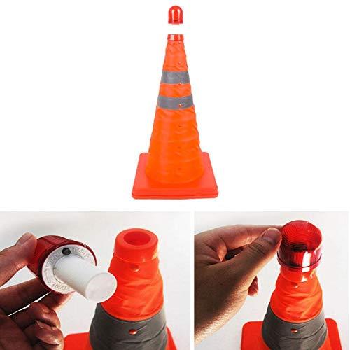 Zaote Orange Multipurpose Traffic Safety Cones Erweiterbar und zusammenklappbar Fluorescent Reflektierende Verkehrssicherheit Parking Cones mit Orange Base (Kleine Safety Cones)