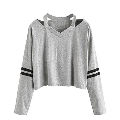 Damen Sweatshirt,Dasongff Mode Damen Langarmshirt V-Ausschnitt Tops Bluse Oberteil Pullover Kurzes Langarmshirt T-Shirt (M, grau)