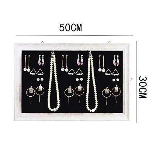 Melodycp Holzrahmen hängen an der Wand montierte Ohrringe Display Schmuck Regal Halskette Storage Organizer (Farbe : Schwarz, Größe : 30 * 50cm) (Halskette-ohrring-combo)