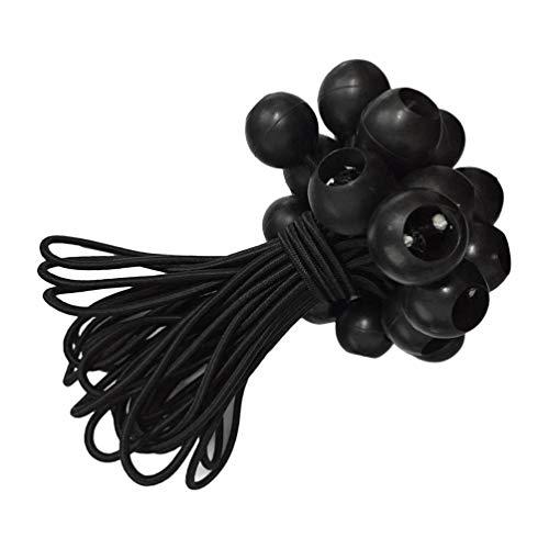LIOOBO 10 Pcs Ball Bungee Black Bungee Ball Cord Set Tie Down Elastic Cord Ball Bungee Cord für Baggage Trip Tent 25pcs Schwarz -