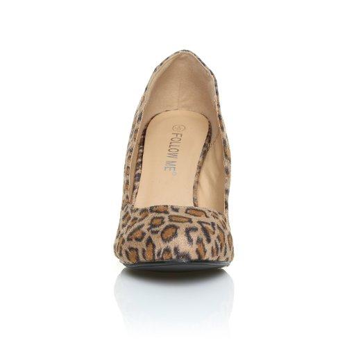 PEARL Scarpe con Tacco a Stiletto Alto Decollete Classiche, Stampa Leopardo in Microfibra Stampa leopardata