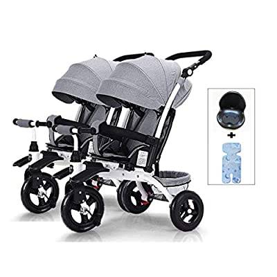 DZWSD Twin baby stroller Trike Detachable Can Sit and Lie Down Lightweight Foldable Double Trolley with storage basket Suitable from Birth to 5 years old