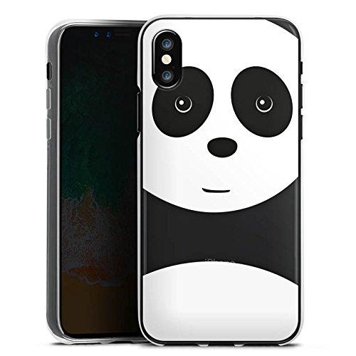 Apple iPhone X Silikon Hülle Case Schutzhülle Panda Transparent mit Motiv Kawaii Silikon Case transparent