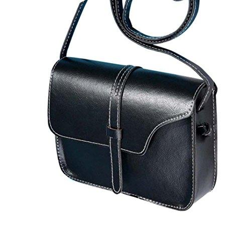 Malloom® Donna Vintage Borse a tracolla in PU Pelle Ragazza Borse a spalla Nero