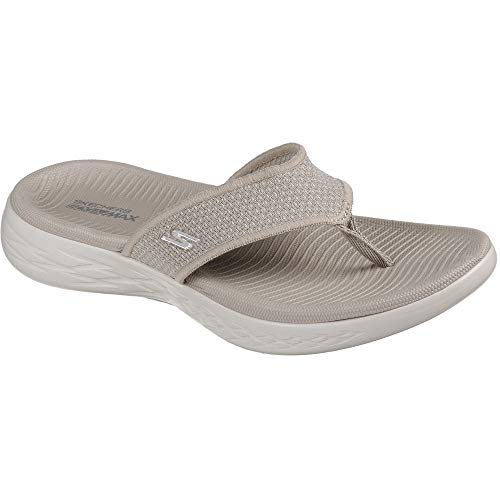 Skechers Women's on The Go 600 Knitted Flip Flop Sandal Taupe Size 7