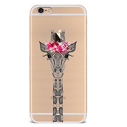 Iphone 7plus Hülle Giraffe Einhorn Elefanten Art Karikatur Silikon TPU Schutzhülle Ultradünnen Case Schutz Hülle für iPhone 7plus YM68
