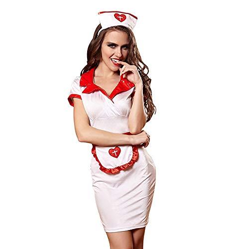 YIZHEN Sexy Krankenschwestern, Cosplay Sexy Dessous Uniformen Versuchung Spiel Krankenschwestern, Nachtclub Service Pole Dance Night Show Ds Show Kostüme,M