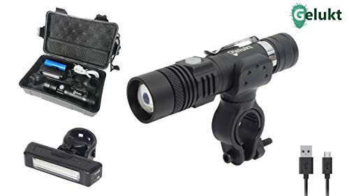 GELUKT Taschenlampe/Fahrradbeleuchtung set mit akku, 1250 lumen (LED), wiederaufladbar, Fahrrad sport lampe, Zoombarer Effekt, Set inkl. Taschenlampe und Rücklicht, 5 Licht-Modi für Berg-Radfahre.