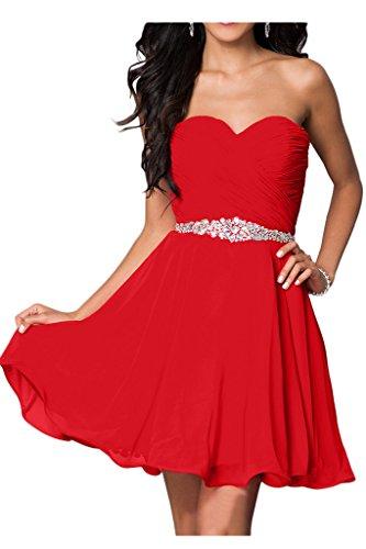 Milano Bride Damen Liebling Chiffon Herzform Kurze Abendkleid Heimkehrkleider Abschlusskleid Strass Pailette34-Rot