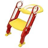 Yoleo Töpfchentrainer Töpfchen für Kinder Toilettensitz mit Treppe/Leiter, Toiletten-Trainer Weiche Matte, Spritzschutz Zusammenklappbar, für Toiletten 38-42cm (Rot-Gelb)