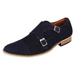 Lujo Stature Handmade Monk Shoes - Blue