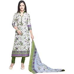 Vaamsi Women's Dress Material (Deep1057_White_One Size)