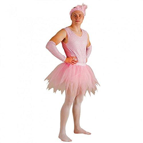 Krause & Sohn Kostüm Ballerina für Männer Body Tüllrock Armstulpen rosa Männerballett ()