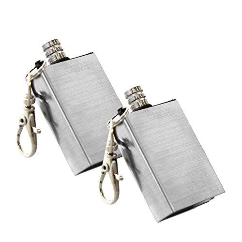 COM-FOUR® Camping ewige Streichhölzer Streichholz Feuerzeug mit Feuerstein Permanent Matches (flach - 2 Stück)