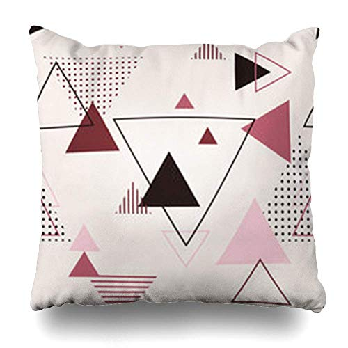 Klotr Kissenbezugs Creative Geometric Shapes Figures Pattern in Modern Geometrical Hipster Nice Abstract Triangles Flat Pillowcase Square Size 18 X 18 Inches Home Decor Cushion Cases