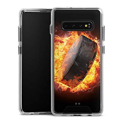 DeinDesign Handyhülle kompatibel mit Samsung Galaxy S10 Plus Bumper Case Schutzhülle Eishockey Flammen Slapshot