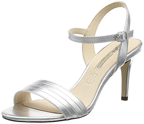 Buffalo London 15BU0115 KID LEATHER, Damen Knöchelriemchen Sandalen, Silber (SILVER), 39 EU