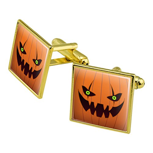(Graphics and More Jack-o'-Laterne Kürbis-Gesicht, Halloween-Dekoration, quadratisch, goldfarben)