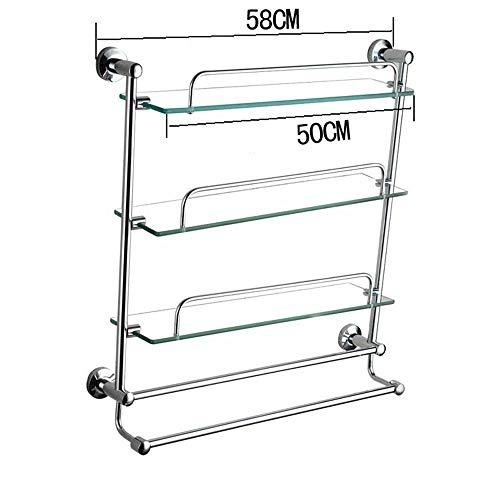 DEED Wandbehang Mount Rack Toilette Regal Badezimmer Glas Regal Single Boden Badezimmer Hardware Gehärtetem Glas Regal Lagerregal,58 cm -