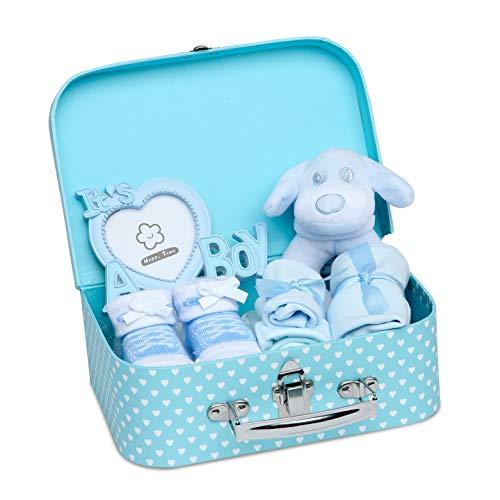 Baby Box Shop - Baby Geschenk Baby Junge mit Baby Set Neugeborenen Set Junge einschließlich Rassel, Fotorahmen, Musselin Tuch, Lätzchen, Socken, Handschuhe und Mütze