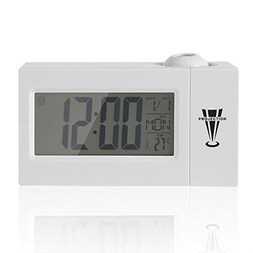Projektion Uhr Digital Dimmbar Wecker mit Radio Auto Time Set Nap/Sleep Timer Innentemperatur Tag/Datumsanzeige weiß