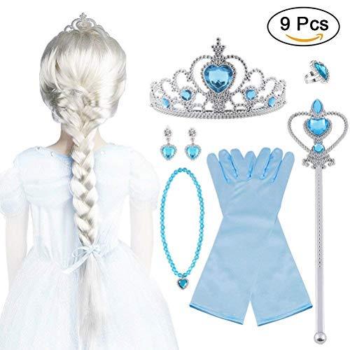 Vicloon - 9 Pezzi Set di Costumi per Ragazze Costume per Elsa (Parrucca)