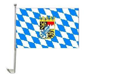 Autoflagge Bayern mit Wappen 30 x 40 cm