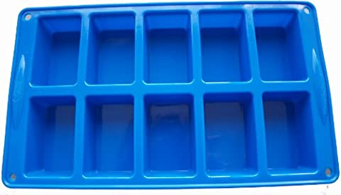 Silicone Mould (10) Rectangles/Mini Loaf-Soap/Chocolate/Cake Bar Mould/Baking Tray, FREE