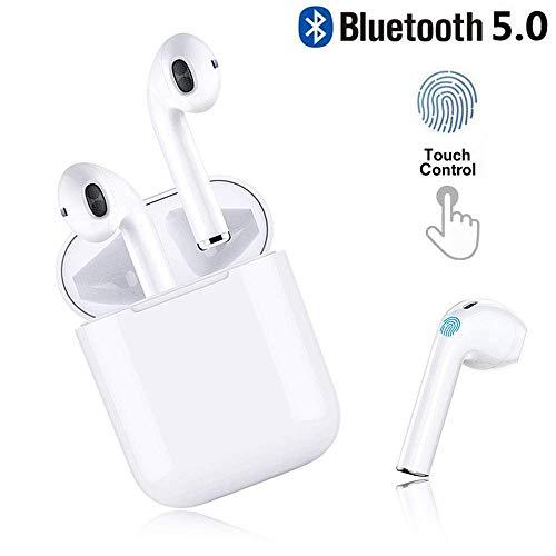 Écouteurs Bluetooth, Écouteurs sans Fil Bluetooth 5.0 avec étui de Chargement Portable, Mic HD Intégré et Son 3D Stéréo, IPX5 Étanche, 24hrs Playtime, pour Android Samsung Huawei Phone (Blanc)