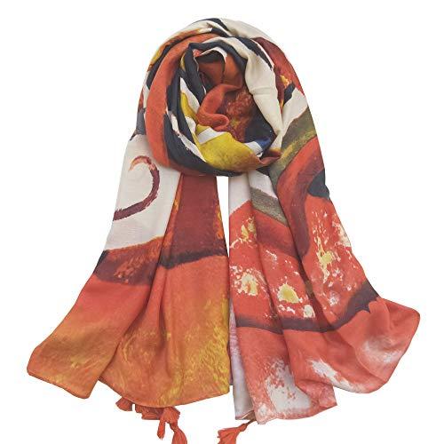C&EX·XYGAT Damen Baumwollschal, lang, Polyester, mit Quasten, dünn, weich, Sommer, Seababeach Bezug, für Frühling und Herbst - Orange - (Der In Weihnachten Masse Ornamente)