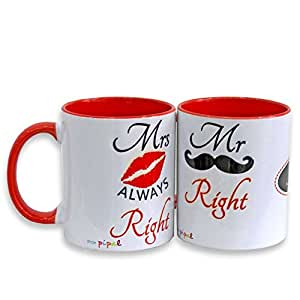 MR & MRS RIGHT MUG - SET OF 2 - PERSONALIZED
