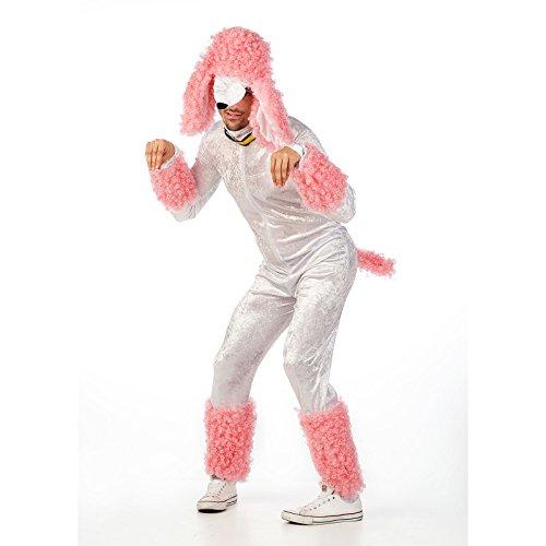 Elbenwald Süßer Pudel Party Fun Kostüm Herren weiß-rosa 2-TLG. Overall mit Kopfbedeckung - M