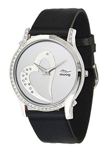 Moog Paris Sweet Love Damen Uhr mit Silbernem Zifferblatt, Swarovski Elements & Schwarzem Armband aus Aal Haut - M44392-102 (Haut Aal Schwarz)