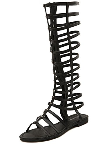 Wealsex KNIE STIEFEL Sandals Damen Reißverschluss Sandalen Women Fashion Strappy Gladiator Flat Thong Sandals Schwarz