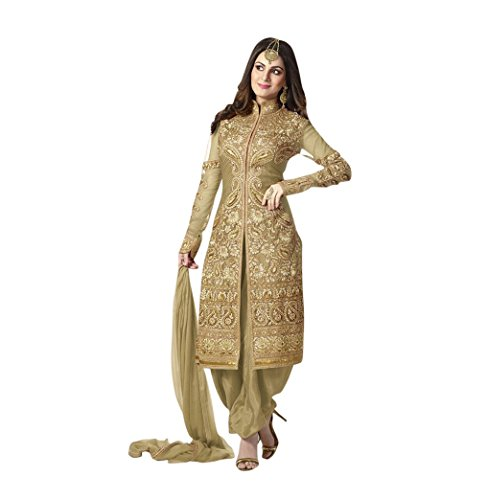 Krishna Emporia Women's Golden Salwar Suit Dupatta Dress Material