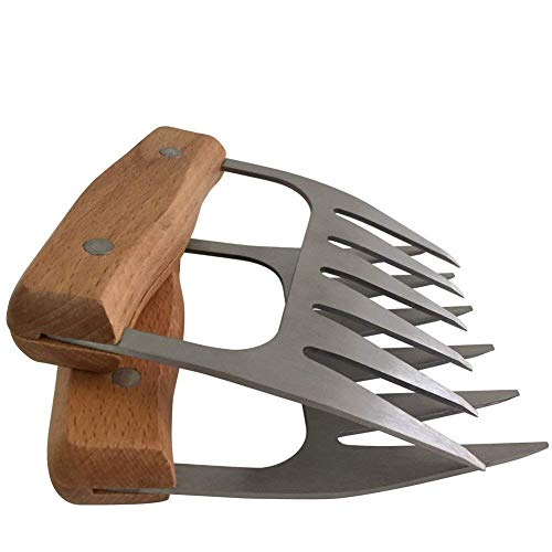 Preisvergleich Produktbild L&Z Edelstahl Fleisch-Krallen [2 Stück] - Meat Claws für Pulled Pork / Bärenkrallen mit Holzgriff / BBQ Gabeln