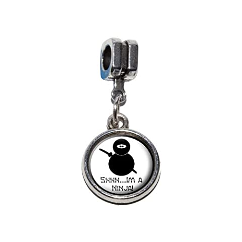 Shhh... I'm un ninja italien européenne Euro Style Perle Charm Bracelet–Compatible avec Pandora, Biagi, Troll, chamilla 18cm, Autres