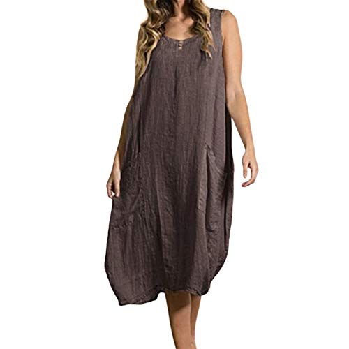 Kuty Robe Lin, Caftan, Robes au Genou, sans Manches, Grande Taille(5X-Large)