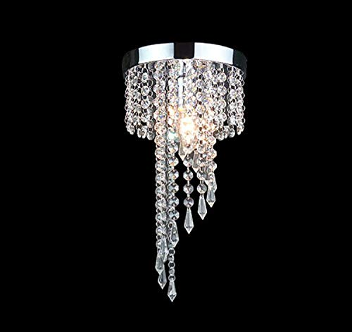 TRADE® Elegant Leuchter Beleuchtung mit Kristall Regentropfen Unterputz LED Deckenleuchte Lampe Pendelleuchte für Esszimmer Wohnzimmer Dekor H13.4 * D7.9 Zoll