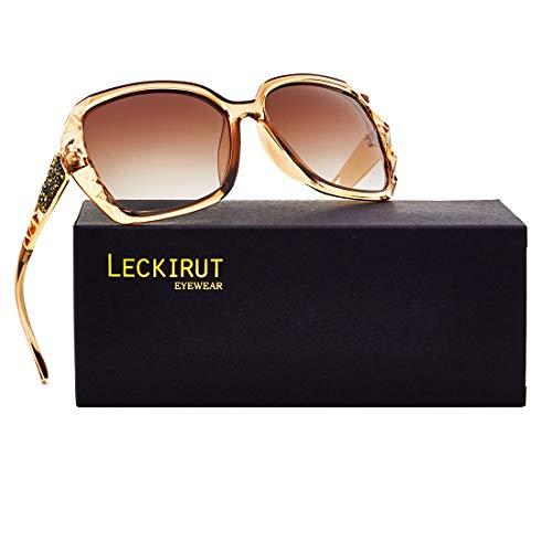 cee368963f5a7 LECKIRUT Mujer Sombras Grande clásico Polarizadas Gafas de Sol 100% UV  Protección Gafas.