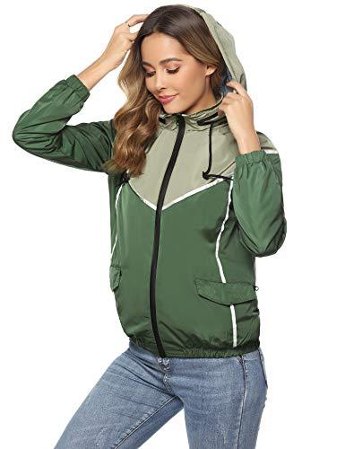 Hawiton Damen Regenjacke Wasserdicht Colourblock Outdoorjacke Leichte Kurze Jacke mit Kapuze, Dunkelgrün, S