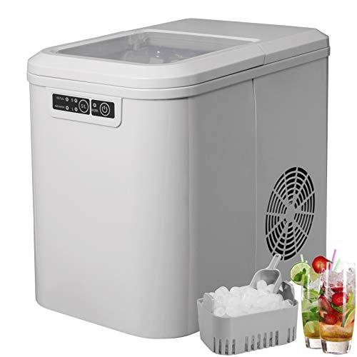WOLTU EM01gr Eiswürfelmaschine Eismaschine Ice Maker Eiswürfelbereiter, 15kg 24h, 2 Eiswürfel-Größen, 2,2 Liter Wassertank, 120 W, ABS, grau