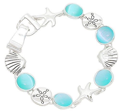 Silber Ton Magnetverschluss Seestern, sand dollar, Muscheln blau Acryl Steine Charme Armband