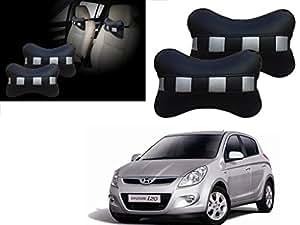 Autopearl - Premium Make Black & Silver CV Car Neck Rest Pillow For - Hyundai I20 Type-1