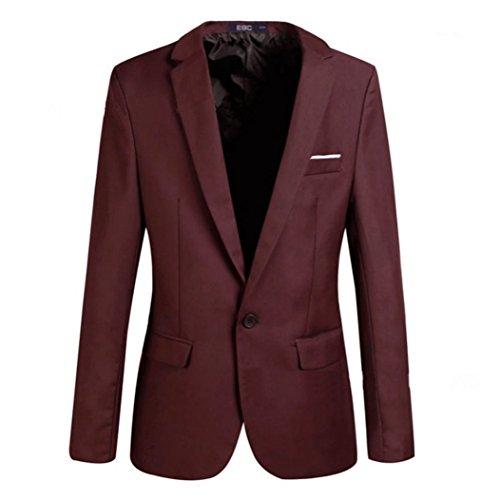 Männer Mantel Slim Fit Herren Sakko Freizeit Bussiness Blazer Anzugjacke Casual Oberteile Cardigan Mode Sakkos Jacke Weinrot 6XL Kootk (Blazer Sport Herren Mantel)