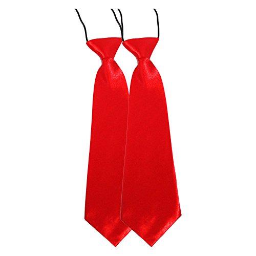Cravate pour enfant Rouge Satin élastique pour l'école/de bal/de mariage Rouge - 2 Ties